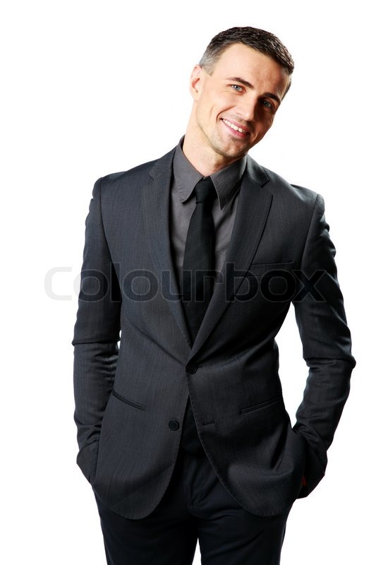 Stock image of 'Smiling businessman standing isolated on a white background'