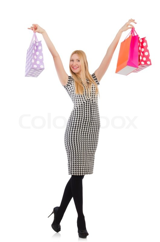 Stock image of 'Woman after shopping isolated on white'