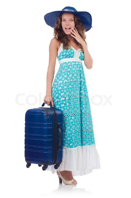 Stock image of 'Woman going to summer vacation isolated on white'