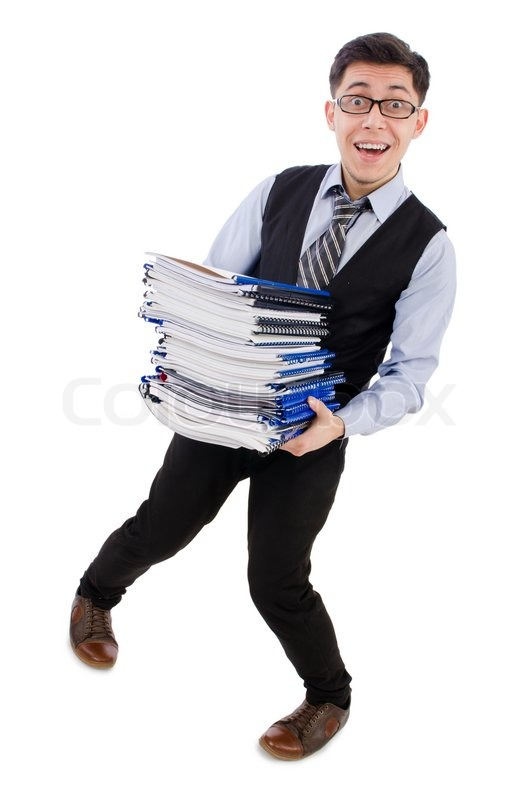 Stock image of 'Funny man with lots of folders on white'