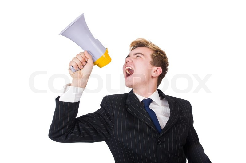 Stock image of 'Funny man with loudspeaker on white'