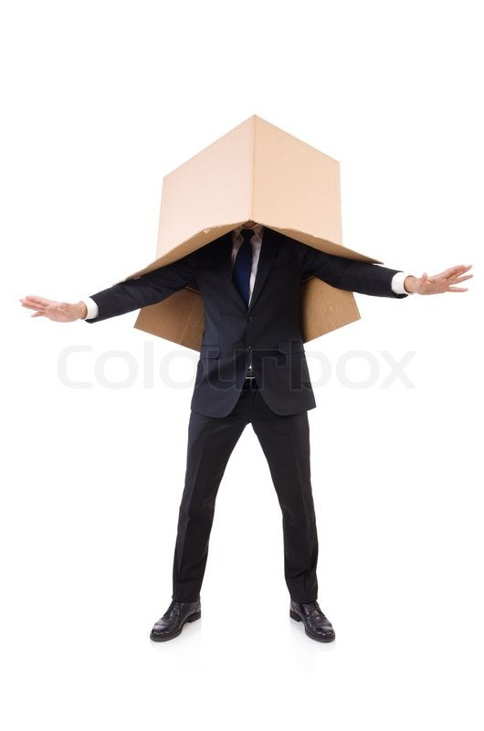Stock image of 'Man in thinking outside of the box concept'