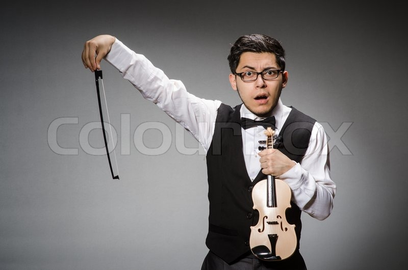 Stock image of 'Funny violin player with fiddle'