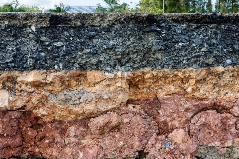 Stock image of 'The curb erosion from storms. To indicate the layers of soil and rock.'