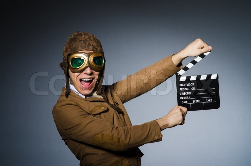 Stock image of 'Funny pilot with goggles and helmet'