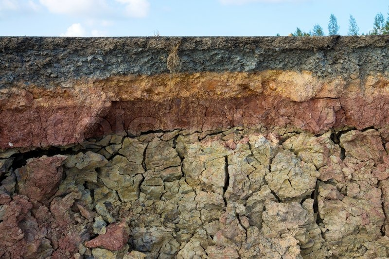 The curb erosion from storms to indicate the layers of for Top layer of soil
