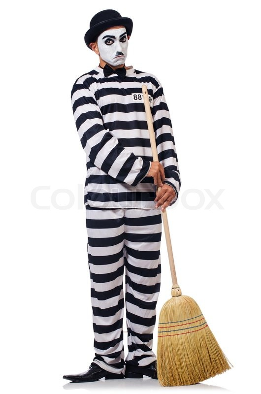 Stock image of 'Prisoner with broom isolated on the white'