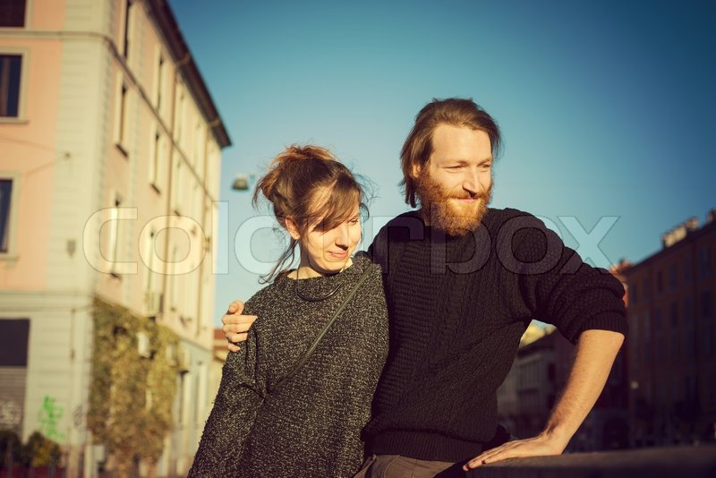 Stock image of 'young couple in love lifestyle outdoor in the city'