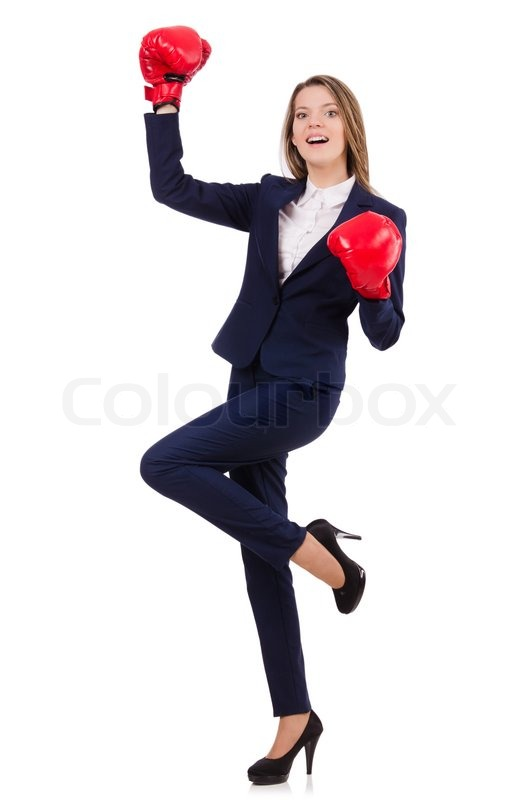 Stock image of 'Woman businesswoman with boxing gloves on white'