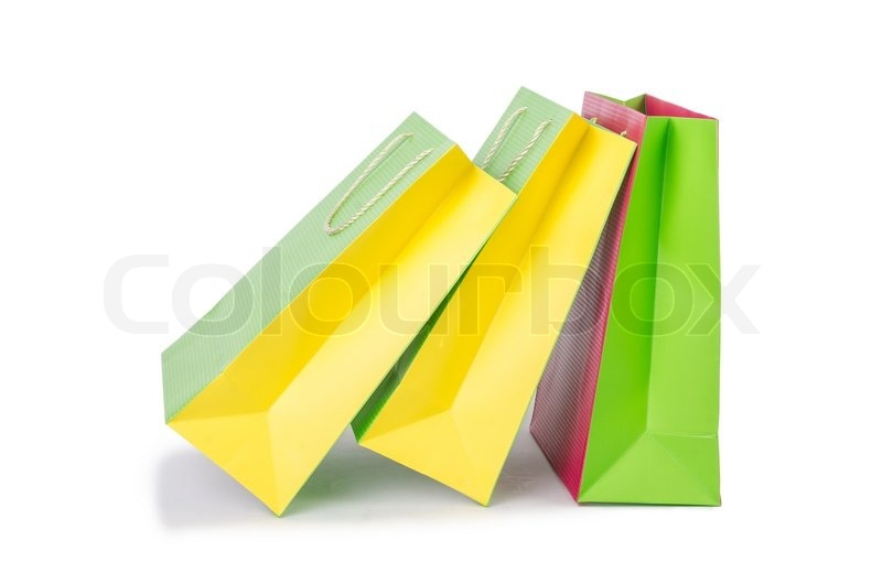 Stock image of 'Colourful shopping bags isolated on white'