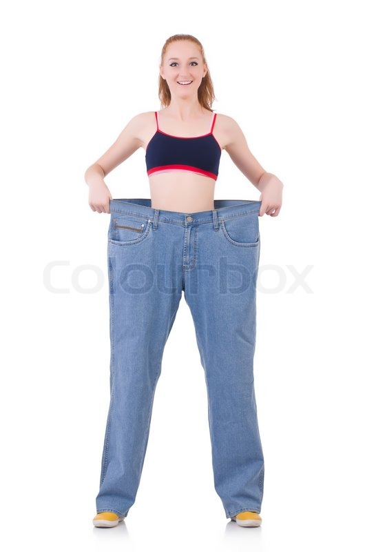 Stock image of 'Woman with large jeans in dieting concept'
