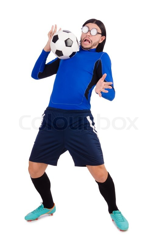Stock image of 'Football player isolated on the white background'