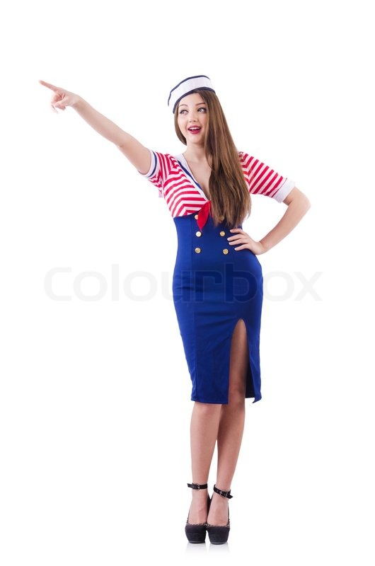 Stock image of 'Stewardess pressing virtual buttons in the air'
