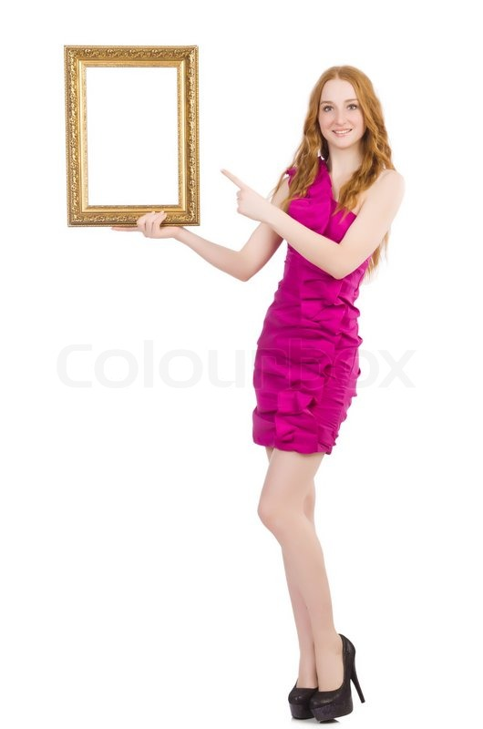 Stock image of 'Woman with picture frame on white'