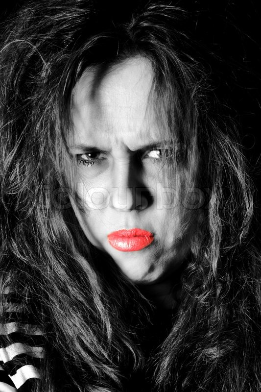Stock image of 'Portrait of sad female, low key and selective color technique'