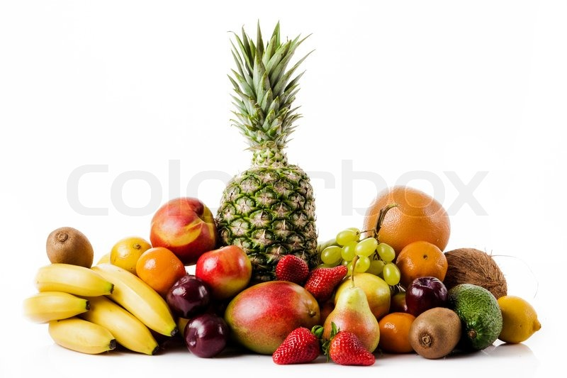 Stock image of 'Fresh fruits isolated on a white . Set of different fresh fruits'