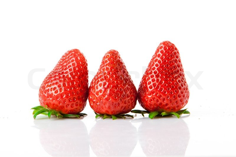 Stock image of 'Ripe red strawberries on white background isolated'
