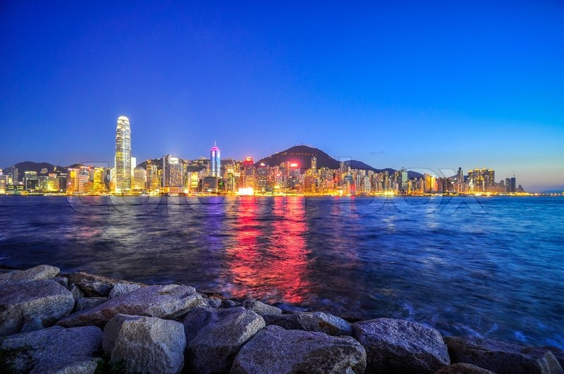 Stock image of 'Hong Kong Island skyscrapers at night in China.'