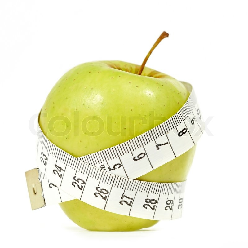 Stock image of 'An apple with messure tape illustrating a healthy lifestyle'