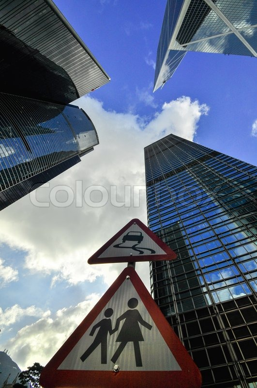 Stock image of 'Hong Kong Bank Skysraper with blue sky, China'