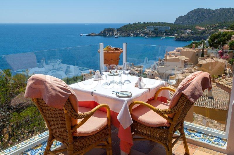 Restaurant with Sea Views in Majorca, Spain, stock photo