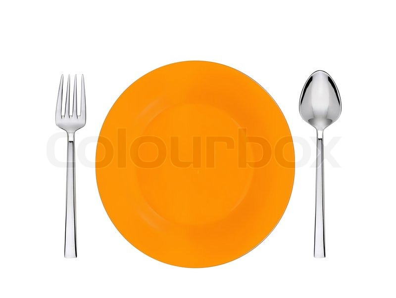 Stock image of 'Orange plate, spoon and fork isolated on white'