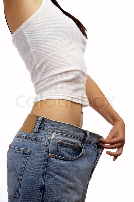 Stock image of 'view of female became skinny  and wearing old jeans'