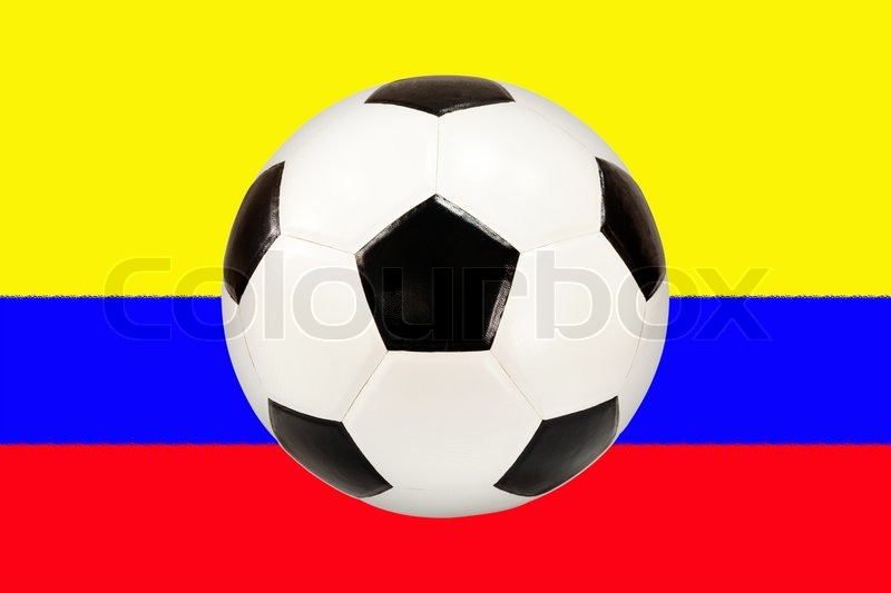 Stock image of 'soccer ball with Colombia flag background'