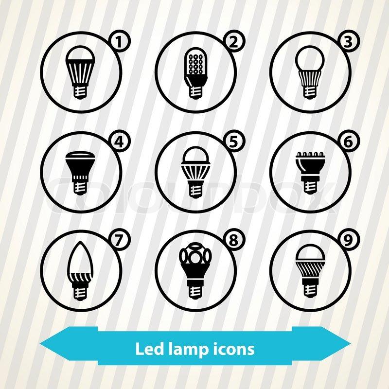 LED Lampe-Symbole | Vektorgrafik | Colourbox