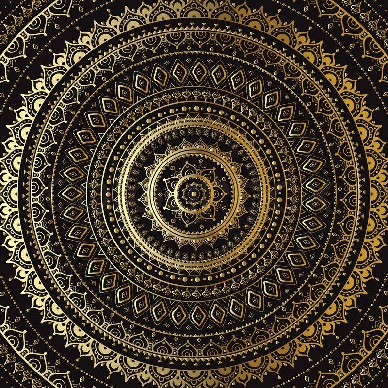 gold mandala indische dekoratives muster vektorgrafik colourbox. Black Bedroom Furniture Sets. Home Design Ideas