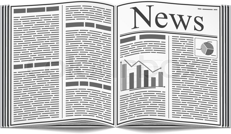 Open Newspaper With An Abstract Text And Graphs Isolated