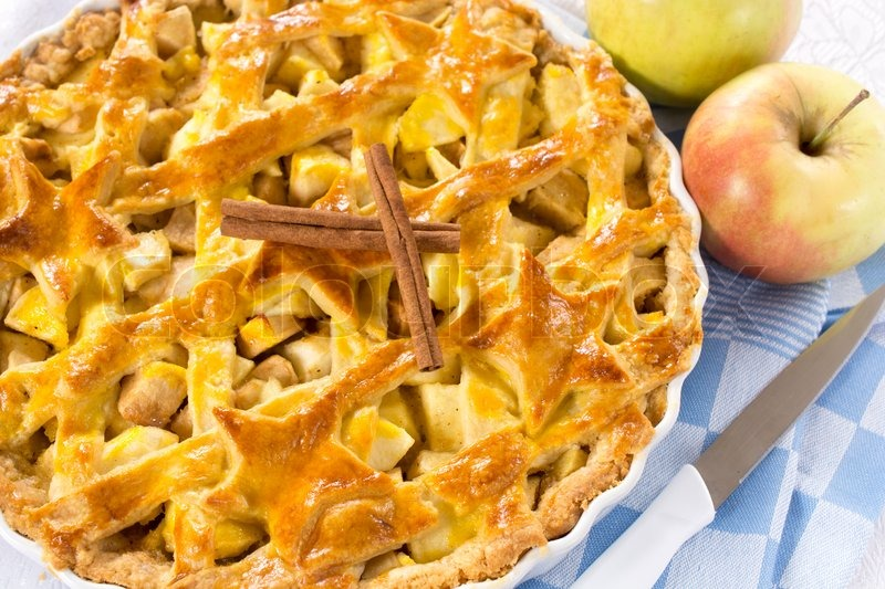 Sweet traditional American apple pie.Selective focus in the middle of pie , stock photo