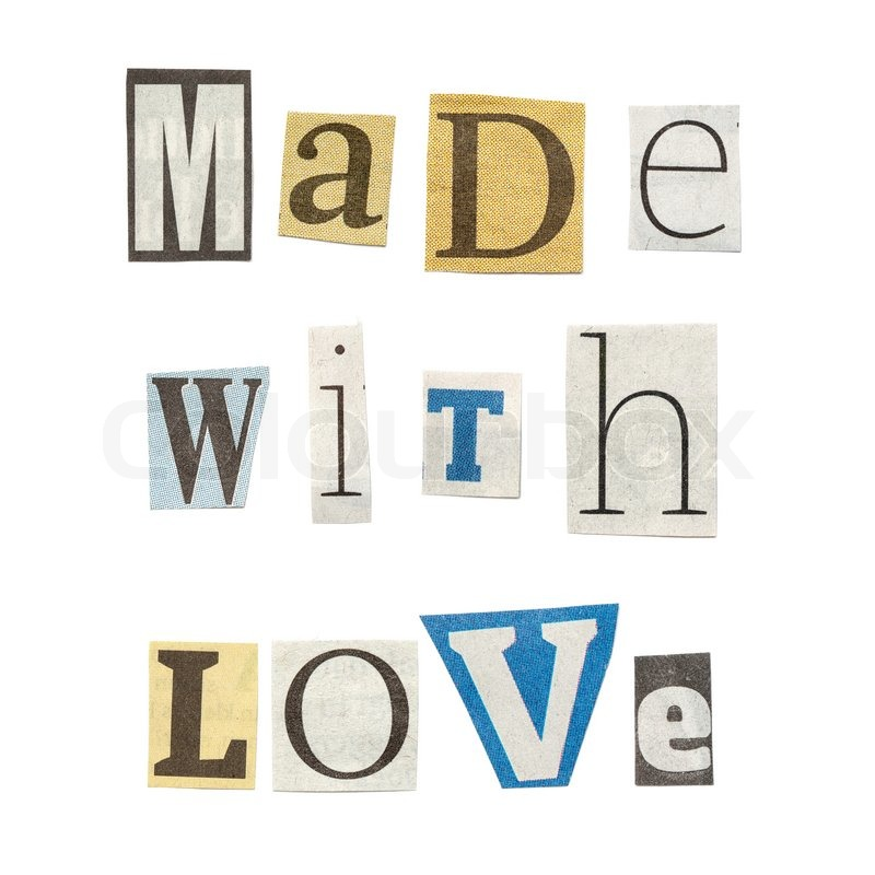 Made with love words composed from isolated cutout newspaper made with love words composed from isolated cutout newspaper letters stock photo spiritdancerdesigns Gallery