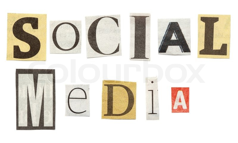 Social Media words posed from isolated cutout newspaper