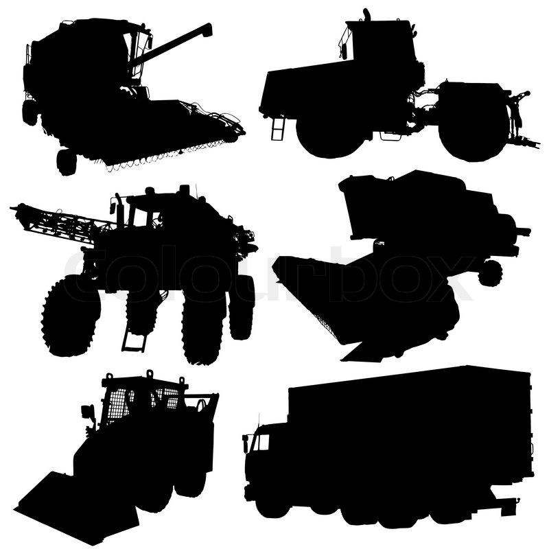 Agricultural vehicles silhouettes set. Vector illustration ...