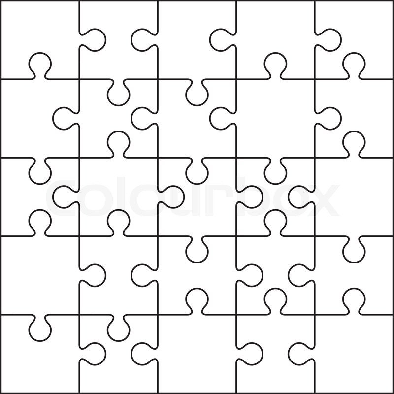 Jigsaw Puzzle Blank Template Or Cutting Guidelines  Stock Photo