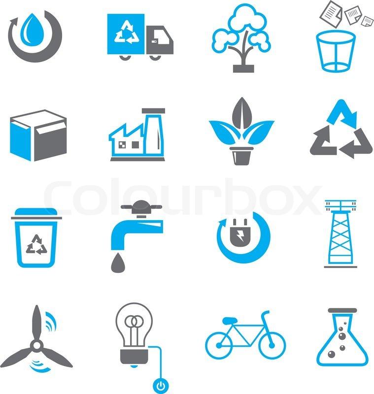 Save energy icons set ...
