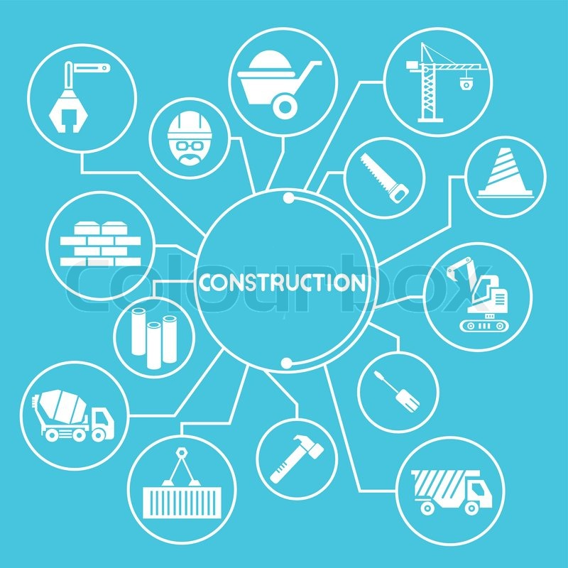 Construction and civil engineering network info graphic for Construction info