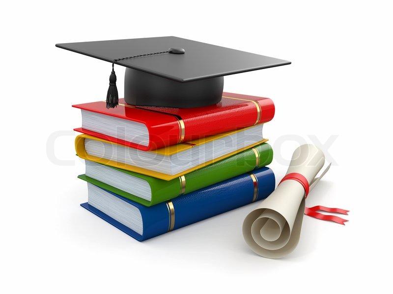 Abschluss Hut Diplom Und Bücher 3d Stockfoto Colourbox