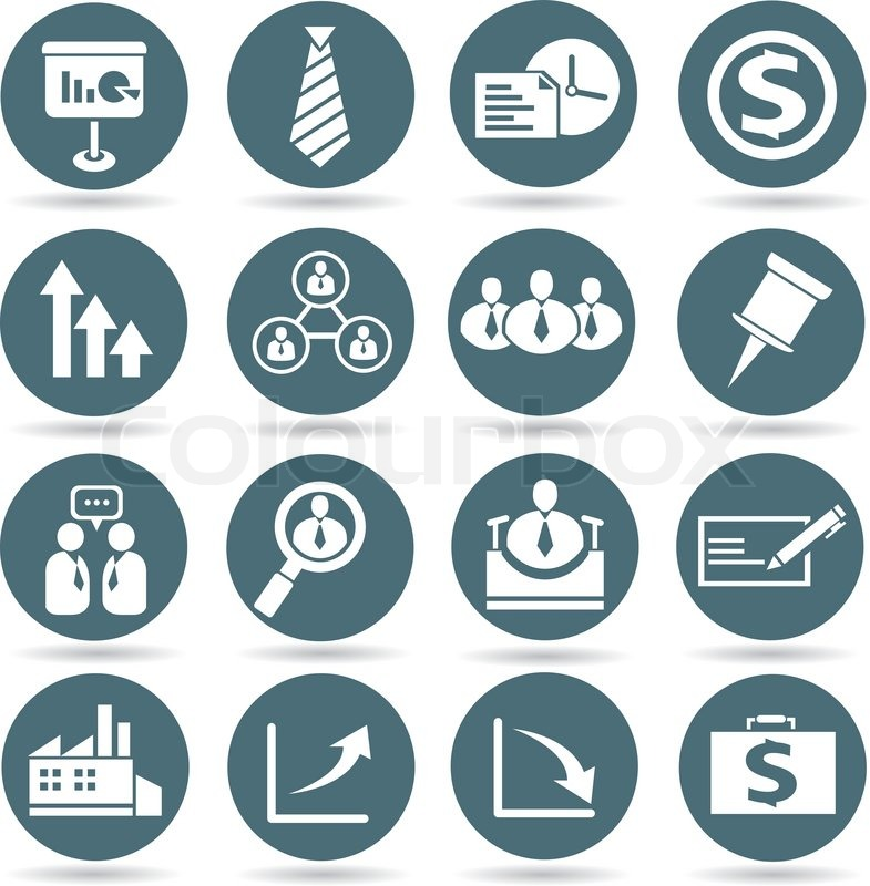 office and business icons set in round buttons stock vector
