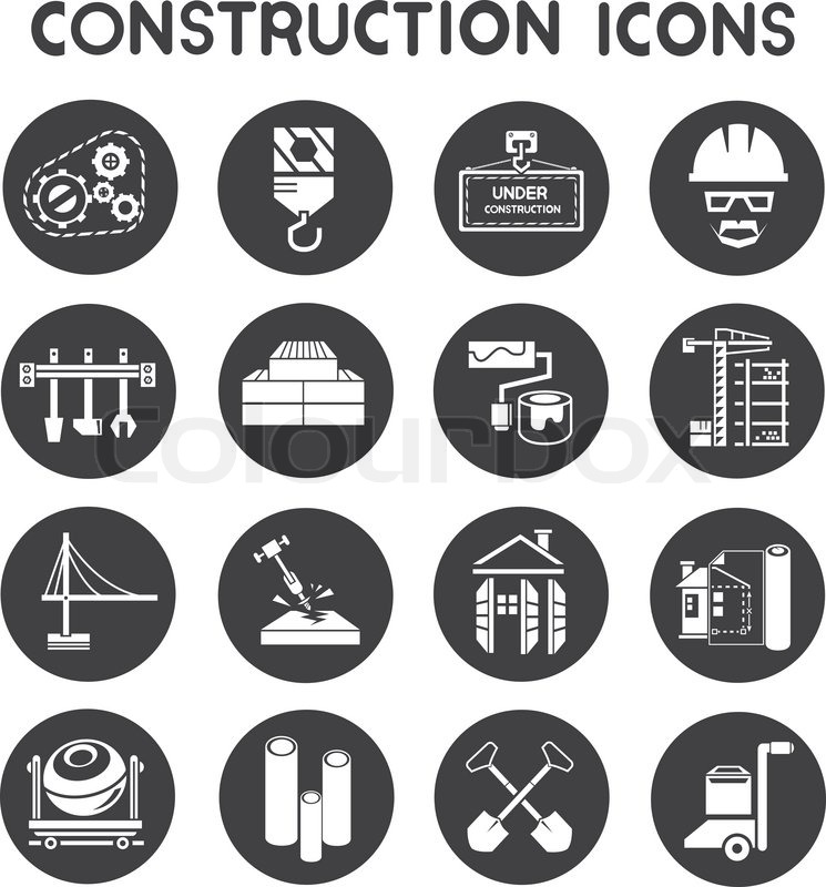 Construction Icons Set In Round Buttons Stock Vector