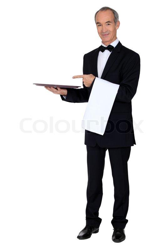 kellner mit einem tablett stockfoto colourbox. Black Bedroom Furniture Sets. Home Design Ideas