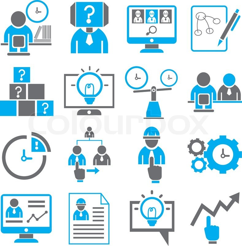 business solution and management icons set in black and blue theme