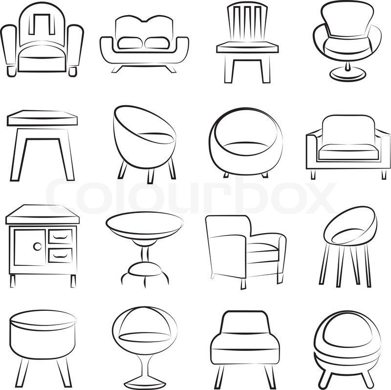 Skizzieren Sie Stuhl Icons Set Stock Vektor Colourbox