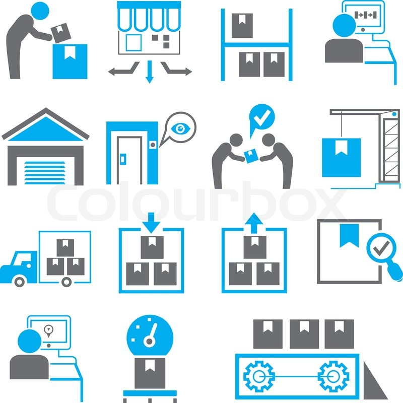 Manufacturing Icons In Blue Color Theme Stock Vector