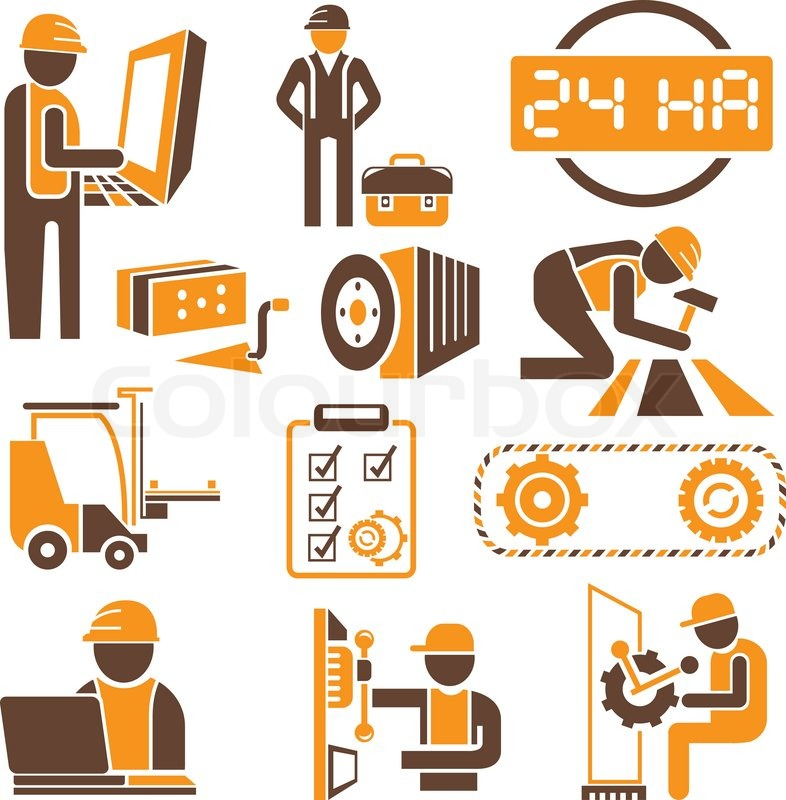 Engineering And Technical Service Icons In Orange Theme
