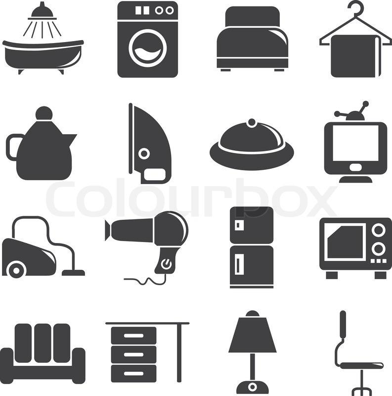 haushalt und elektronik symbole vektorgrafik colourbox. Black Bedroom Furniture Sets. Home Design Ideas