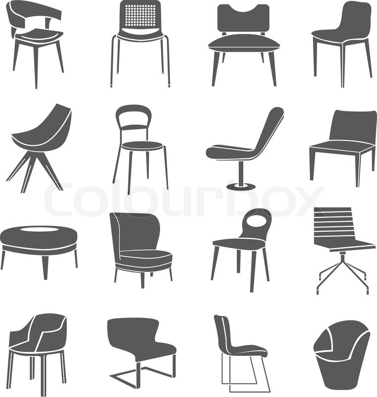Chair Icons Stock Vector Colourbox