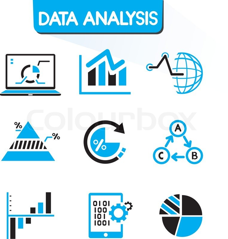 Data analysis and data graph icons in black and blue theme ...