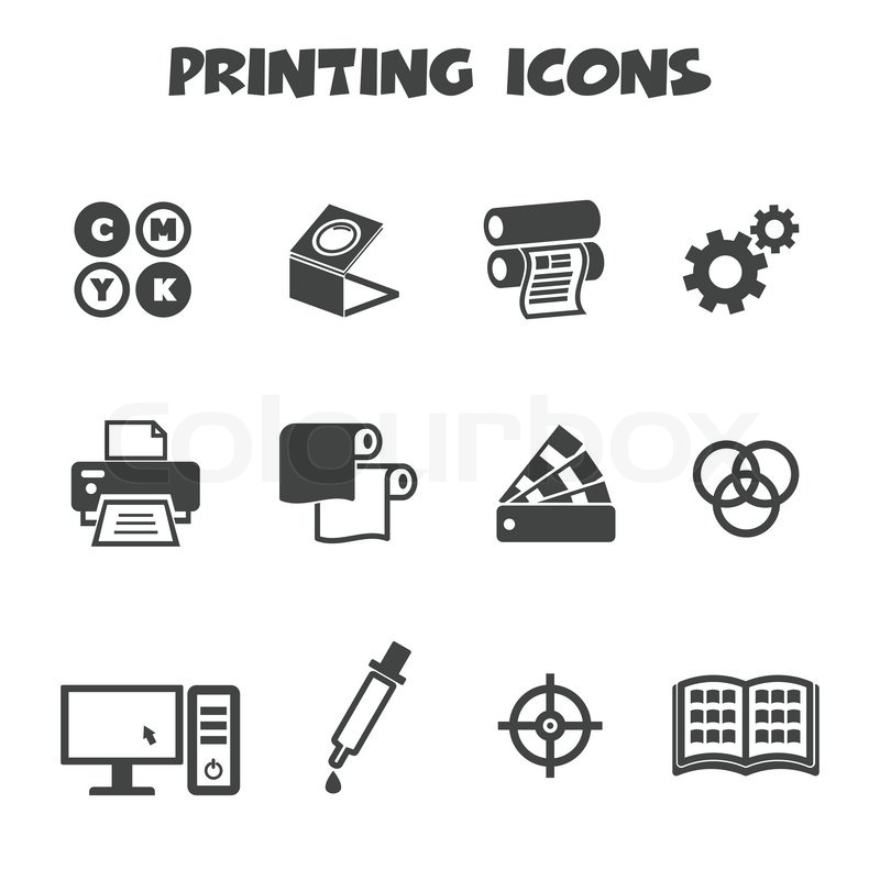 Printing Icons Mono Vector Symbols Stock Vector Colourbox